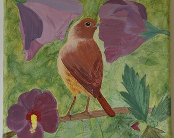 Young songbird among mauve hibiscus flowers, hit by light - Original acrylic painting on canvas - Art for spring/summer wall decoration