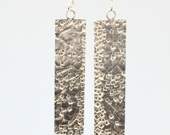 Geometric Earrings, Sterling Silver, Long Earrings, Hammered Texture, Dangle Earrings, Rectangular, Modern Jewellery, Statement Earrings
