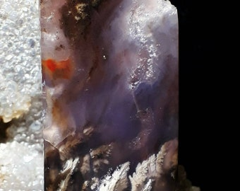 Blue and Purple Plume Agate with Druzy Cabochon. Rectangle. Free shipping.
