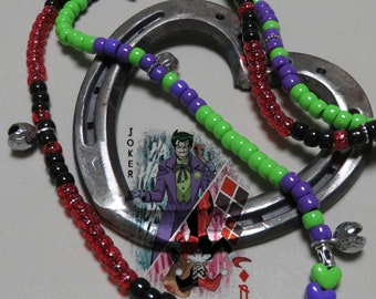 Pony Beads, JOKER-HARLEY QUINN, Trail Beads for Horses,Horse Show Tack, Horse Necklace, Speed Beads, Horse Lovers, Horse Bells