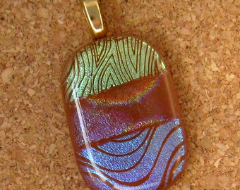 Brown Dichroic Pendant - Fused Glass Jewelry - Glass Pendant - Glass Jewelry - Dichroic Jewelry