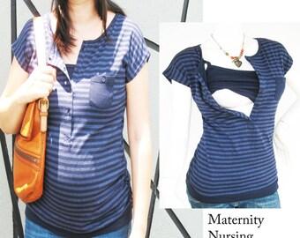 KARA Maternity Clothes Nursing Top Breastfeeding Top NEW Maternity Clothing NAVY Stripe/ Nursing Tops for Breastfeeding/ Free Shipping