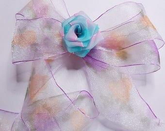 x2m glossy Pearly printed flower 36mm organza Ribbon
