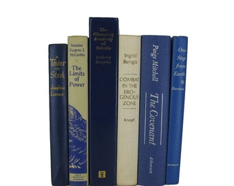 Blue and Cream  Decorative Books, Blue Books , Blue Vintage Books , Photo Props , Wedding Decor , Home Decor, Book Decor , Hardcover Books ,