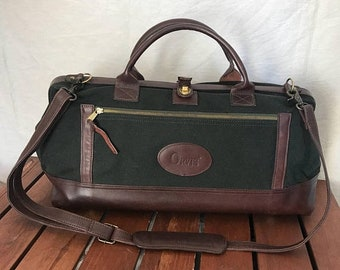 57685789e965 15% OFF VACATION SALE Orvis Vintage Authentic Green Canvas and Brown  Leather Trim Duffel Travel