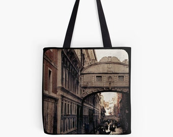 Merchant of Venice - Bridge of Sighs (Italy travel photo tote bag, romantic gondola eerie beige brown stone brick vintage historical)
