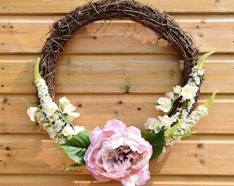 Floral door wreath, peony wreath, housewarming wreath, natural wreath, pretty flower wreath, home decor, artificial flowers