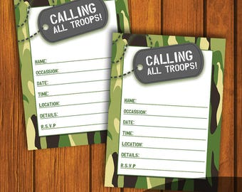 Camo Birthday / Calling All Troops / Military Birthday / Young Boy Birthday / Instant download / Fill In The Blank / Boy Birthday Invitation