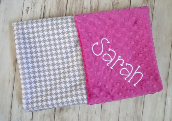 Clearance blankets moonbeam minky personalized softness sale monogrammed personalized minky baby blanket gray houndstooth clearance blanket with name preppy blanket negle Image collections