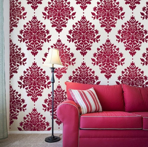 Rose Damask Wall Stencil Reusable Stencils for Walls