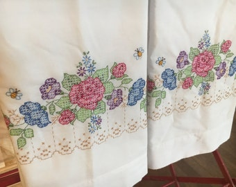 Set of Two Cross Stitch StandaPillowcases with Floral Roses and Greenery