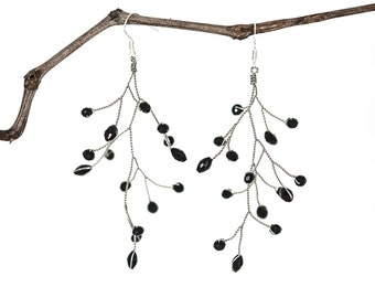 651_Black crystal earrings, Tree branch earrings, Silver earrings, Handmade earrings, Dangle earrings, Big earrings, Twig earrings, Jewelry.
