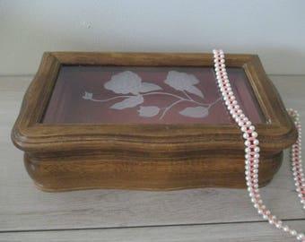 Vintage Wood Jewelry Box Trinkets Nic Nacs