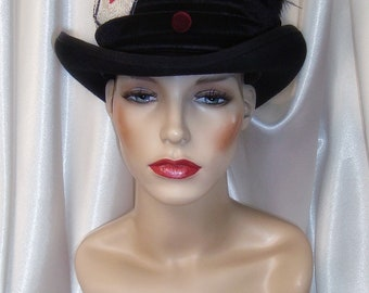 Mad Hatter Top Hat, Black Top Hat, Black Wool Top Hat, Ace of Hearts Top Hat