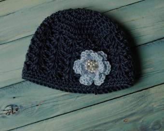 Girl's Bejeweled Spring Flower Crochet Beanie Size 6-9 M