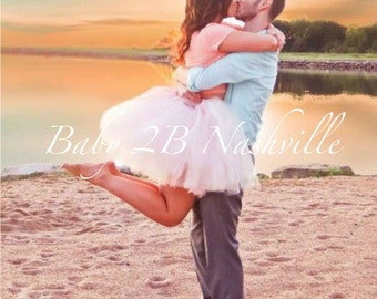Adult Tutu Skirt Ivory and Pink Blush Skirt  Wedding Dress  Tulle Skirt Bridal Dress