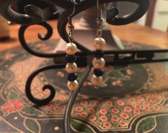 Hand made 6 mm Beaded Earrings