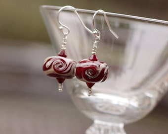 Red Lampwork Glass Earrings - Red Glass Earrings - Red Crystal Earrings - Red Silver Earrings - Red Dangle Earrings - Crimson Red Earrings