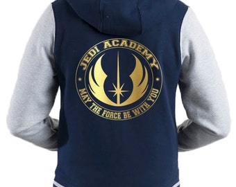 Star Wars Inspired Jedi Academy varsity hooded blue jacket with gold motif