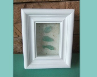 Beach Glass in a Box Frame - Cottage Collection Beach Chic Home Decor Wall Art
