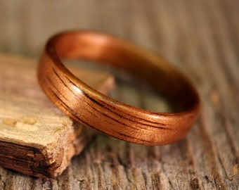 Bentwood Ring - Shimmer Koa Wooden Ring - Handcrafted Wood Wedding Ring - Custom Made