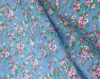 Floral Denim cotton fabric, Summer dress Material, Patchwork, sewing, dressmaking Bunting, Tea Party, QUARTER METRE