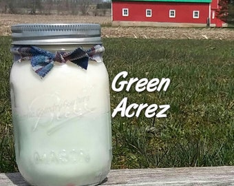 1960s Green Acrez Soy Candle in 16 oz jar