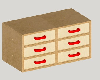 A8 - MDF Storage Box With 6 Drawers (Shed, Workshop)