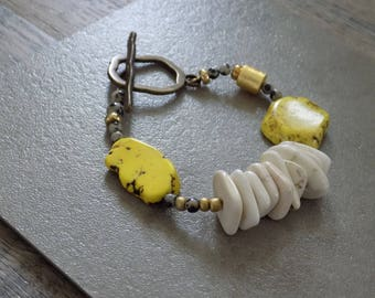 H I G H L I G H T II- Composite Series- Yellow and White Howlite Funky Bracelet with Dalmatian Jasper and Gold Accents