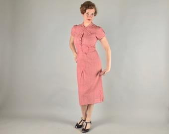 Vintage 1930s Dress   30s Bubblegum Pink Floral Lace Gatsby Day Dress   Medium