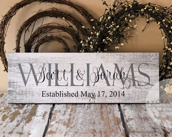 Custom Family Name Sign, Personalized Wood Plaque, Last Name Wall Sign, Established Date Sign