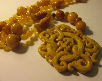 Double Dragon Buff Yellow Jade Pendant with Jade and Gemstone Bead Necklace, 23""