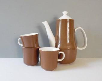 Vintage Mugs and Pitcher set Vintage Mug set Vintage mid century serving set Vintage mugs vintage pitcher Vintage mid century modern set