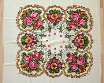 Châle en laine Vintage écharpe en laine avec motif floral #95
