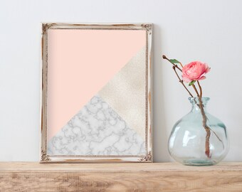 Marble Printable Wall Art, Marble Geometric Abstract Printable, Modern Marble Decor, Abstract Marble Pink Blush Poster, Bedroom Wall Art