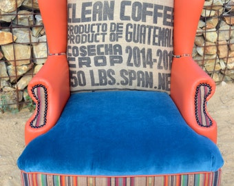 Custom Vintage Upholstered Wingback Accent Arm Chair with Velvet and Vinyl