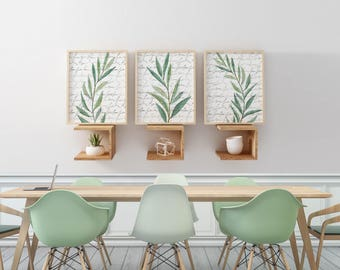 Eucalyptus Art Prints Watercolor Wall Neutral Artwork Dining Room Set Kitchen