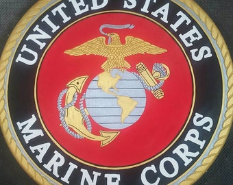 """Freehand routered United States Marines sign.  Hand painted.  24"""" round."""
