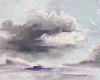 Cloud study, plein air skyscape, original oil painting on panel 13x18 cm