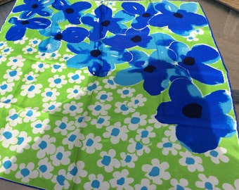 Vintage Vera vibrant Green, blue & turquoise floral scarf