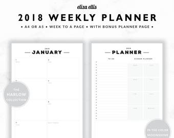 2018 WEEKLY PLANNER / A4 Weekly Planner / A5 Weekly Planner / Weekly Planner / Meal Planner / To Do / The Harlow Planners in Moonshine / 409