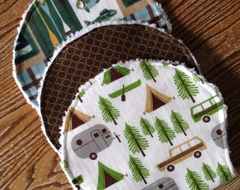 Flannel and Chenille Burp Cloths Set of Three Camping, Fishing, Airstream