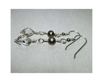 ww1323 - PEARL & HERKIMER DIAMOND Wirewrap Earrings - Argentium Sterling Silver