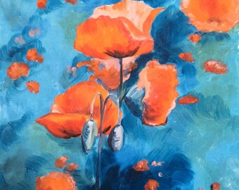 Red poppies turquoise oil painting