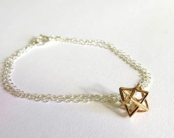 Gold merkaba bracelet, tiny star bracelet, 3D star of david, bracelet, kabbalah, Judaica jewelry