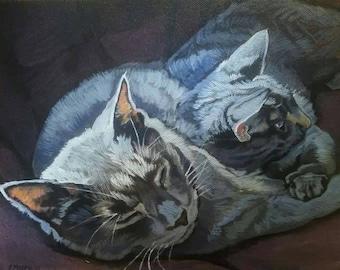 Custom Cat Portrait - Pet Painting - Pet Memorial - Acrylic Painting on Canvas