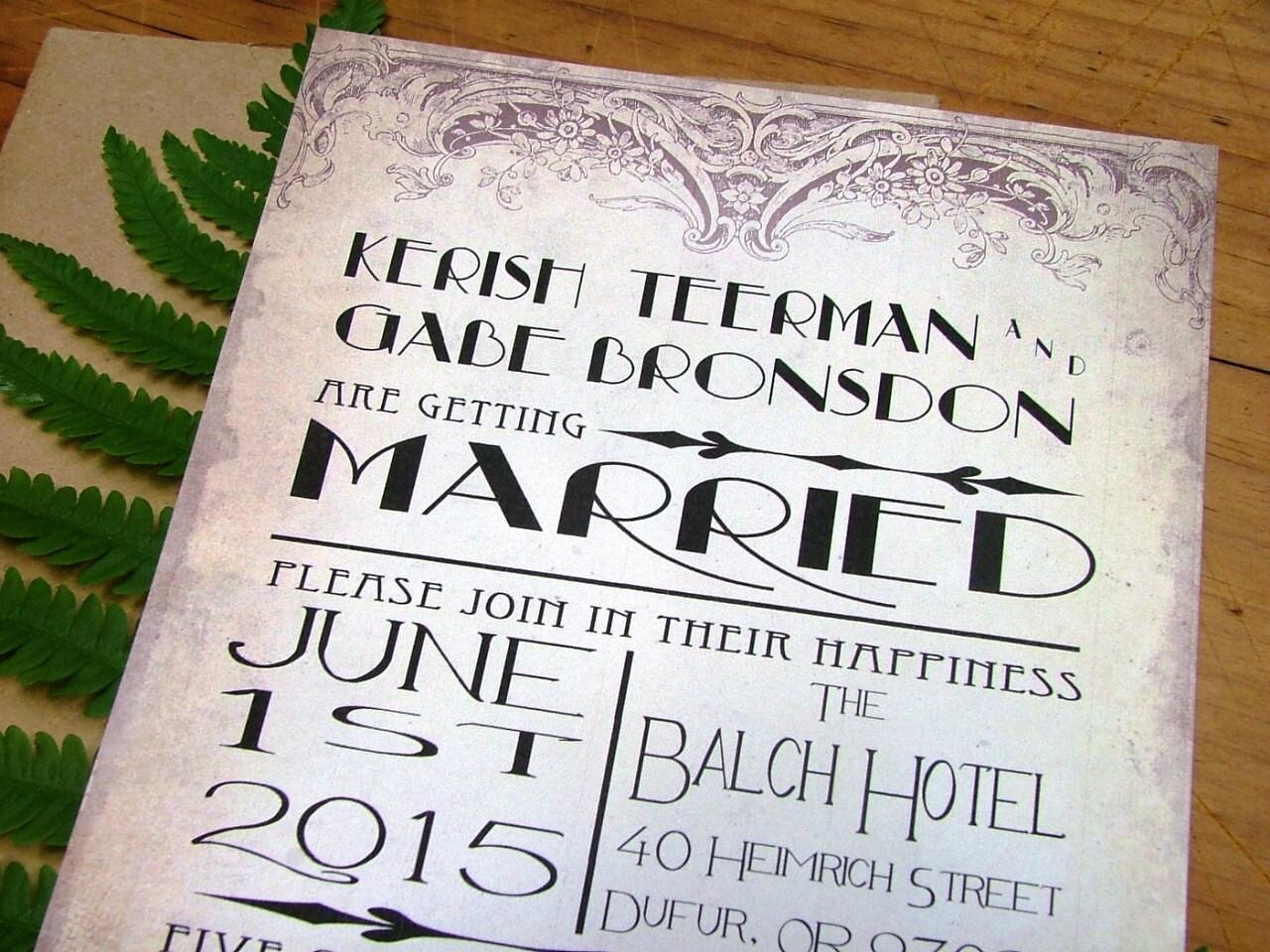 Art Deco Wedding Invitation Vintage Wedding Invitations