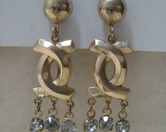 Gold Rhinestone Earrings Screw Dangle Clear Vintage