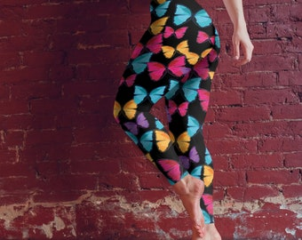 Butterflies On Black - Leggings