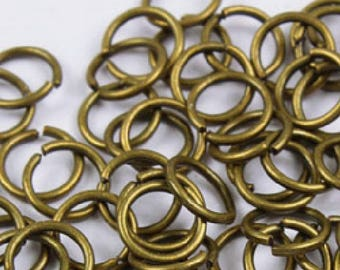 set of 20 rings plated bronze 7 mm